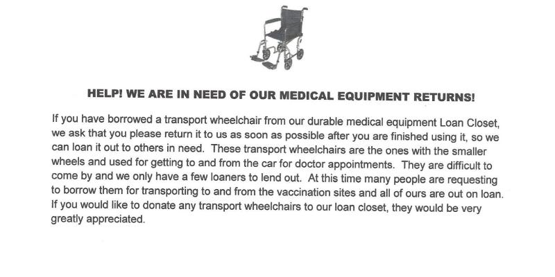 Transport Wheel Chairs Needed
